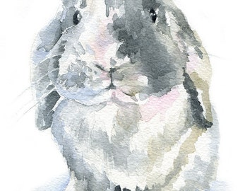 Mini Lop Rabbit Watercolor Painting Bunny - Giclee Print - 5 x 7 - Nursery Art