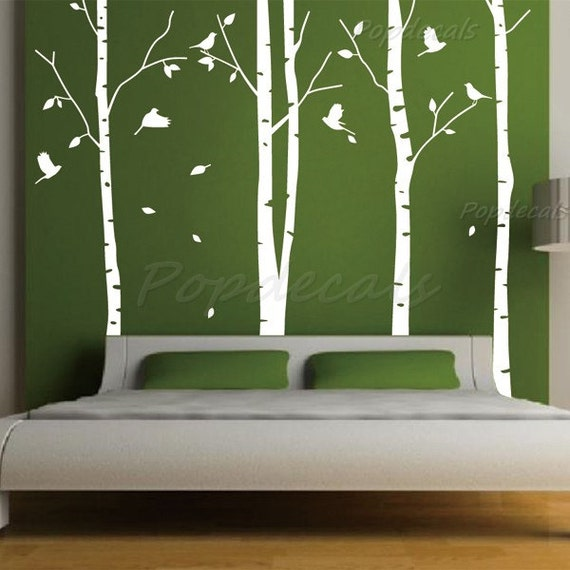 Items similar to hot sale tree wall murals living room for Birch trees mural