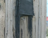 Black leather handbag ,  Fringed leather phone bag ,  Black crossbody purse