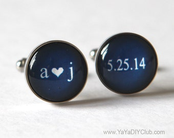 Keepsake Wedding Gift for Groom, Navy Blue Wedding Cufflinks Unique Groom Gift, Personalized Cuff links, Personalized Groom gift