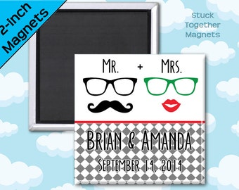 Hipster Wedding Favor Magnets - Mustache and Lips - 2 Inch Squares - Set of 10 Magnets