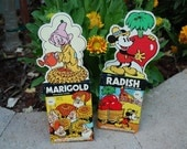 Vintage Disney Garden Seeds - Radish - Marigold - Mickey Mouse - Dopey Dwarf - 1970's - New on Card  New in Packet Never Used Spring Garden