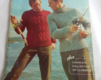 For Vintage Knitting Enthusiasts, 1960s Knitting Patterns for Men, Hand Knits or Pages to Frame
