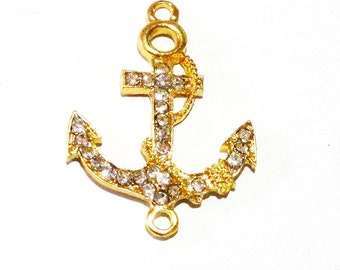 Anchor Connector Pendant - Gold Anchor Sideway Necklace Link - 2 Loops - 4 Pcs - Clear Rhinestone Anchor Charm - Nautical Diy Jewelry Making