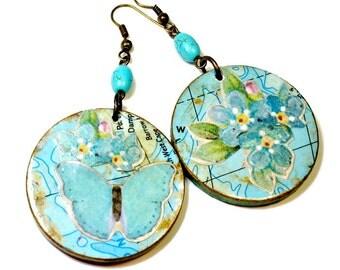 Turquoise Blue Butterfly Earrings, Art Jewelry, Butterflies