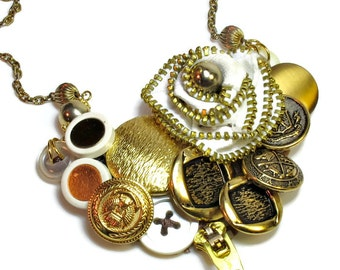 Upcycled Repurposed Button Bib Statement Necklace,  Zipper Flower, Statement Jewelry