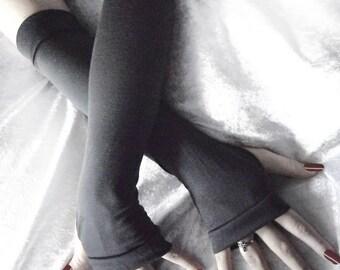 Carbon Arm Warmers - Dark Charcoal Grey Cotton Modal - Gothic Belly Dance Tribal Vampire Chic Classic Bohemian Cycling Light Emo Gaia Yoga