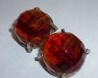Vintage Faceted Reddish Brown Jewel Clip Earrings