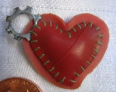 pink & red patchwork heart charm