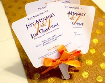 Orange Wedding Program Fans Purple Personalized Programs