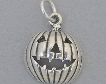 Sterling Silver 925 Charm Pendant JACK O LANTERN Pumpkin Halloween 1851