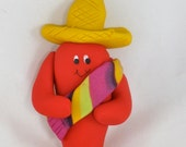 Mexican Chili Pepper with sombrero  and sarape Christmas ornament