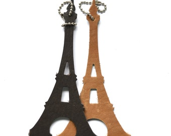 Eiffel Tower Keychain or Luggage Tag, black or brown full grain leather