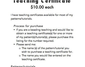 PDF Teaching Certificate for beading teachers