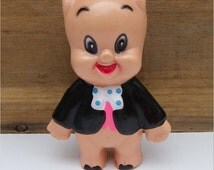 PORKY PIG, Hard Plastic Figure, 1970s, R. Dakin and Co, Vintage Looney Tunes Character