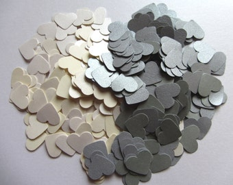 Wedding confetti hearts - Ivory Silver - Paper hearts - 200 die cut hearts - paper heart confetti - weddings