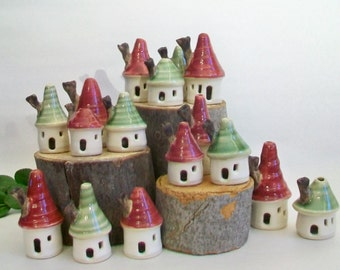 Mini House Christmas Ornaments  - Tiny -  Porcelain  - Hollow  - Handmade, Wheel Thrown