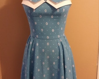 Blue vintage inspired halter dress