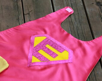 Customized Girl SUPERHERO Cape - Quick turnaround - Sparkle Hero Cape with your childs initial - Personalized Cape - Girl Customized Gift