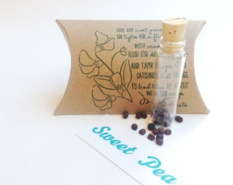 Sweet pea wedding favors. Unique seed favors. Set of 10. Ready to ship.