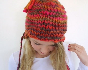 Pink Ear flap beanie  Pink Ear flap hat Pink Hand knitted hat  Winter hat Pink knit hat