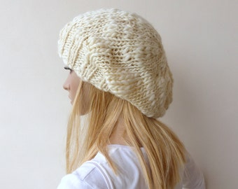 Cream Slouchy Beanie - Chunky knit hat - White Knit Hat - Knit slouch hat - Women hat - Merino hand knit