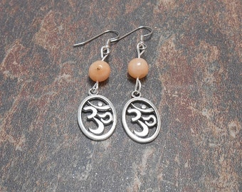 Silver Om Earrings With Orange Jade Beads