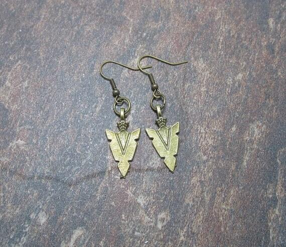 Antique Bronze Arrowhead Earrings - Arrowhead Jewelry - Free US Shipping