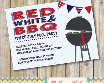 4th of July BBQ Pool Party Invitation- DIY, Printable, BBQ, Pool Party, 4th of July