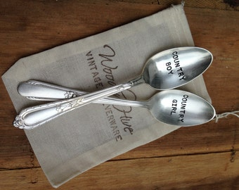 Vintage Silverware Country Girl Country Boy Teaspoons Table Setting Wedding Reception as seen on Country Outfitter