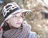 Leopard New Melazine Felt Hat - Cheetah Beige Hat  with Brown Spots - Womens Accessory - Hand Blocked with Minimalistic Black Trim