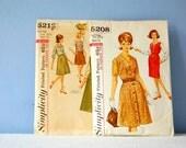 60s Women's Patterns Simplicity 5212 5208 Flared Gored Skirt Set Pattern Notch Collar Blouse Jacket Sleeveless Jumper Dress Half Size 12.5