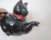 meows, vintage BLACK CAT teapot - Stafford, Redware Pottery, Noir, Halloween, Kitten, Single Serving, Individual