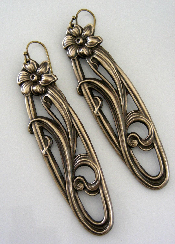 vintage earrings statement earrings nouveau earrings