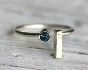 Gemstone Initial Ring-Silver Stacking Recycled Silver Ring W Genuine Blue Topaz Birthstone and Silver Rectangle inital Bar By PaleFish, R018
