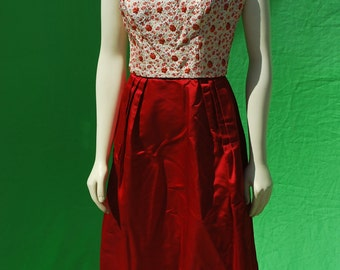 Vintage 50's RED pleated brocade short cocktail dress party dress sM rockabilly MAD MEN mid century dress by thekaliman