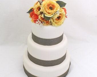 Wedding Cake Topper - Yellow, Orange Rose Silk Flower Wedding Cake Topper, Silk Flower Cake Topper, Orange and Yellow Wedding