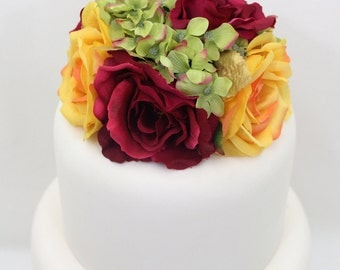 Wedding Cake Topper - Dark Fuchsia, Yellow Rose, Green Hydrangea Silk Flower Wedding Cake Topper, Silk Flower Cake Topper