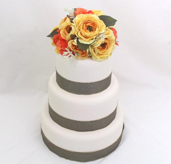 Silk Flower Wedding Cake Toppers: Wedding Cake Topper Yellow Orange Rose Silk Flower Wedding