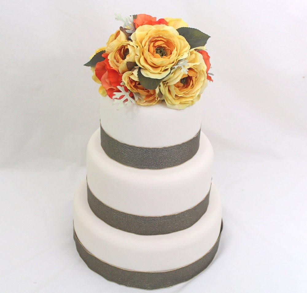 fake flower wedding cake toppers wedding cake topper yellow orange silk flower wedding 14117