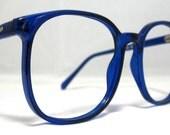 Vintage 80s Oversized Square Horn Rim Eyeglass Frames. Cobalt Blue