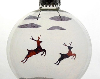Flying Reindeer Christmas Holiday Ornament