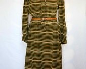 1960s Vintage Ciao Bella Striped Green and Cream Pure Italian Silk Shirt Dress