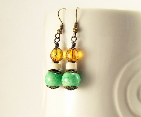 Gemstone Jewelry Beaded Earrings~ Green & Light Amber Boho Rustic Earrings~ For Women~ Beaded Jewelry~ Handmade