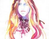 Original Watercolour Painting, Fashion watercolor, Cate Parr,  Paris Vogue Cover Laura