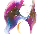 Watercolor Original Painting, Watercolor Fashion Illustration. Titled:  C est Magique3