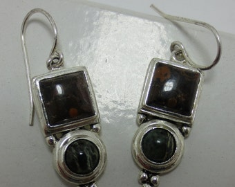 JASPER and AGATE - Sterling Silver Earrings