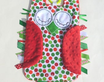 Baby's First Christmas Owl Ribbon Tag Blankie in Red Minky and Kaufman Remix Dots Holiday Fabric with Teething Ring Gift Idea