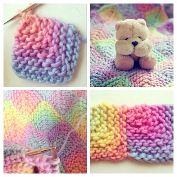 Knitting Pattern Rainbow Baby Blanket : Candy Rainbow Baby Blanket Pattern Digital Download PDF