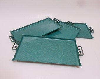 "Moire Kyes Trays 4 Pc. Atomic Ranch Chic Hostess Collection Mid-Century Modern Eames Era ""Moire Kyes Of California"" Aqua"